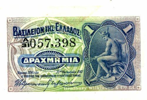 Greece  ... P-309 ... 1 Drachma ... 1917(1918) ... Choice *AU*.