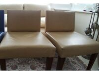 2 x Leather and Walnut Wood Chairs - faded