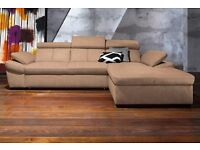 *BRAND NEW MODEL* FABRIC CORNER SOFA BED WITH STORAGE (FREE DELIVERY)