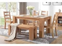 Brand New Solid Oak Dining Table with four (4) Chairs and Bench