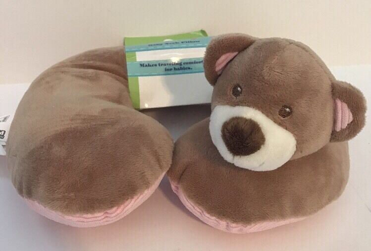 Kellybaby Tan & Pink Baby Bear Neck Pillow New