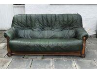3+2+1 Green Leather Sofas