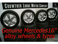 """x4 Genuine Mercedes 16"""" 5-spoke Alloy Wheels and Tyres"""