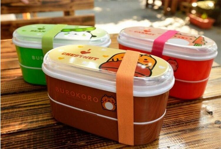 High Quality Cartoon Healthy Plastic Bento Box 600ml Lunch B