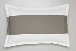 New LOGAN and MASON SHELBY TAUPE & White Striped PAIR of Standard Pillowcases