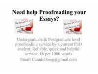 Proofreading Service of Undergraduate & Postgraduate Essays by a current History PhD Student