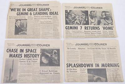 Four Gemini 6 & 7 newspapers NASA space astronauts December 15-18, 1965 Lot 332