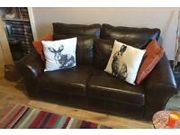 NEXT Bolivia rich brown genuine leather 2 seater sofa