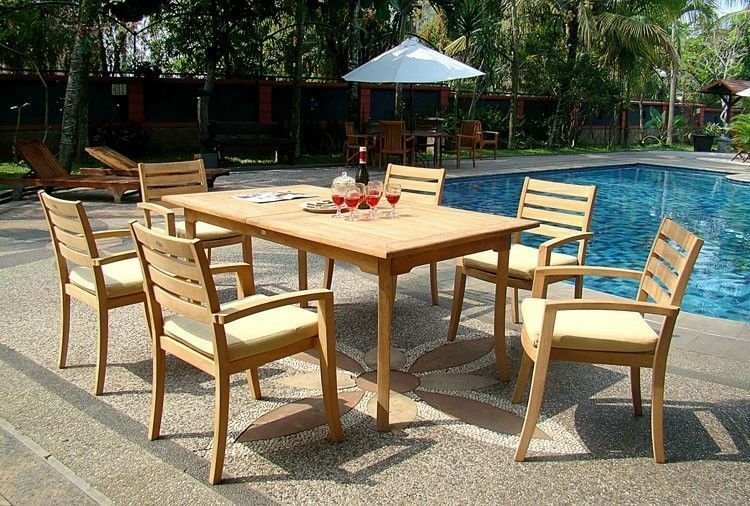 """7-piece Outdoor Teak Dining Set: 83"""" Rectangle Table, 6 Stacking Arm Chairs Trav"""