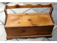 Wooden toy box with seat, hand crafted in pine