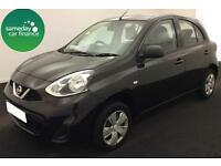 £111.54 PER MONTH BLACK 2014 NISSAN MICRA 1.2 VISIA 5 DOOR PETROL MANUAL