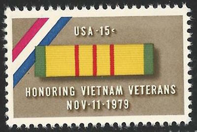 Honoring Vietnam War Veterans Day Service Medal Ribbon Nov 11 1979 US Stamp MINT - Veterans Day Ribbon