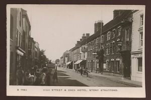 Bucks-STONY-STRATFORD-High-St-Cock-Hotel-early-RP-PPC-c1910-local-children