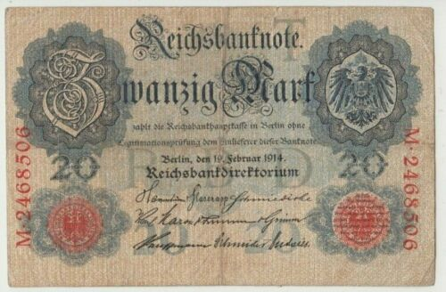 Banknote 1914 Germany 20 marks, prefix M2468506