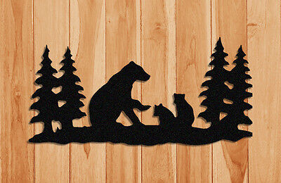 BLACK PLASTIC BEAR WALL HANGING SILHOUETTE WITH PINE TREES