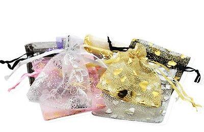 100pcs 79cm Chiffon Yarn Drawstring Bag Jewelry Gift Bags Pouch Wedding Mix