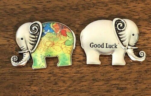 GANZ Lucky Little Good Luck Elephant Charm Pocket Token Green Colors w/Card  D