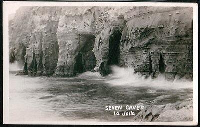 La Jolla Ca Seven 7 Caves Vintage Rppc Postcard Early Pacific Coast Real Photo