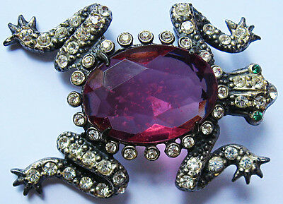 *VINTAGE 1940'S FACETED BRIGHT PINK GLASS BELLY SPARKING RHINESTONES FROG PIN*