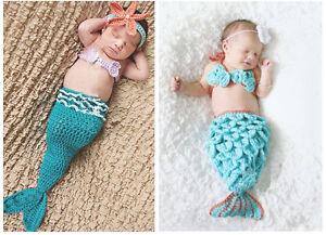 3pcs baby girl infant newborn knit crochet mermaid clothes