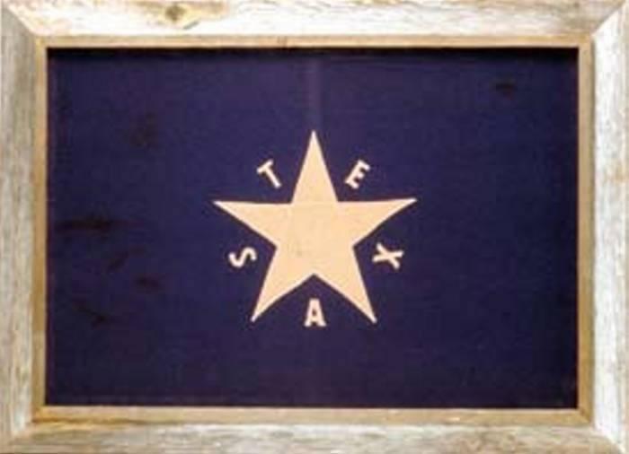 """Texas First Flag  Framed Barnwood Flag 20""""x28"""" (DeZavala Flag)"""