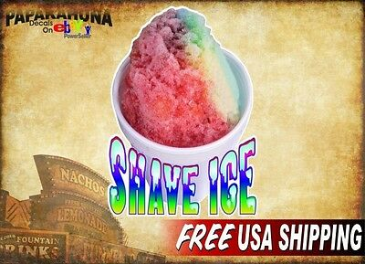 Shave Ice In A Cup 8x12 Decal For Concession Shaved Ice Trailer Drink Stand
