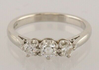 Secondhand Platinum 3 Stone Diamond Ring Size I 1/2 0.32 carats