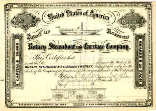 18__ Rotary Steamboat & Carraige Stock Certificate
