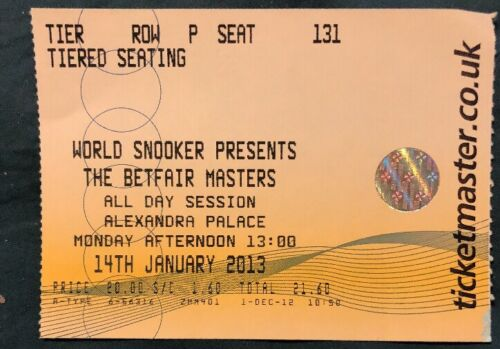 Masters Snooker (Jan 2013) Used Ticket
