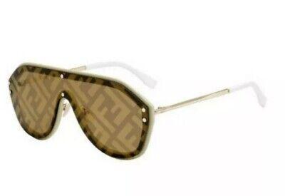 Fendi FABULOUS FF M0039 G/S 10A Beige Matte Gold Mirror Men Women Sunglasses