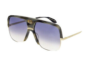 GUCCI Guilloché 0478 Gold Brown Horn Navigator Vintage Unisex Sunglasses GG0478S