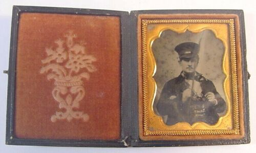 Railroad Conductor Photo-Ambrotype-Case-1/9th Plate-Early