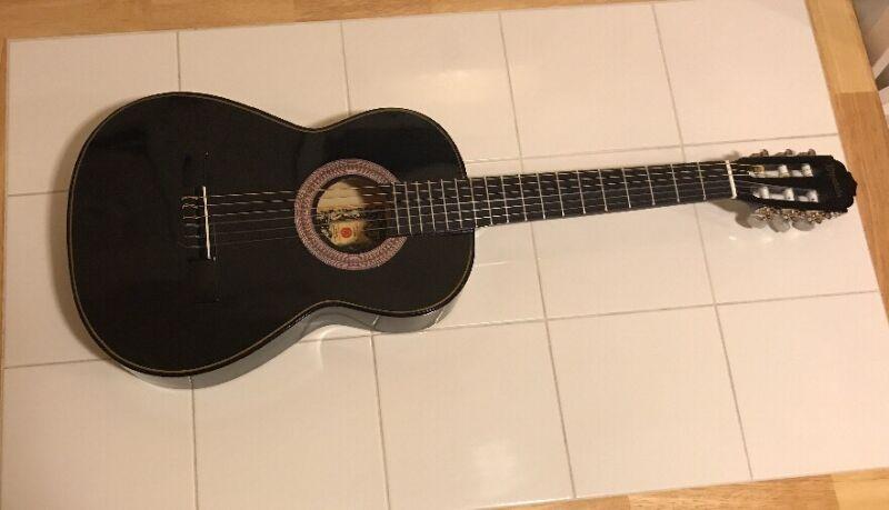 Black Espanola  Classical Guitar. Preowned