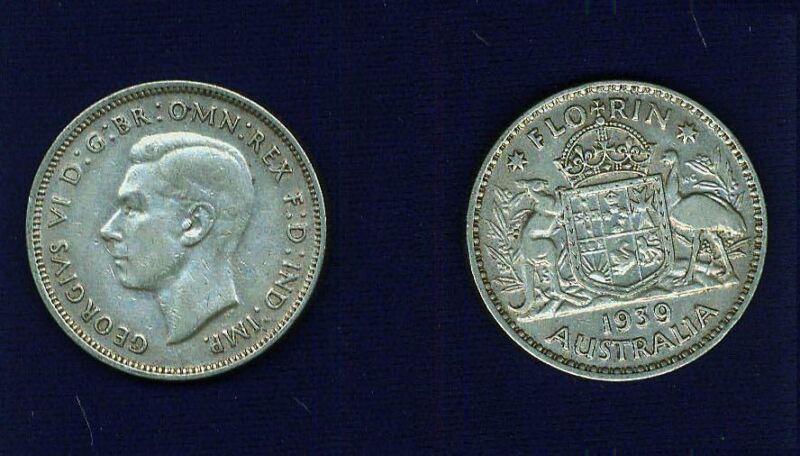 AUSTRALIA  GEORGE VI  1939  1 FLORIN SILVER COIN, GRADES:  XF