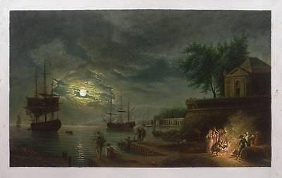 Ölbilder Ölgemälde Gemälde Vernet: Haven bij helder maanlicht (100x60cm)