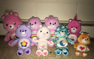 Lot of 7 Care Bear Plush Stuffed Animals 9 to 14 Inches Tall