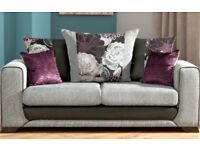 SCS Grey and Purple 3 seat sofa with matching footstool £300 Ono