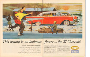 Extra large two-page color magazine ad - 1957 Chevrolet Bel Air