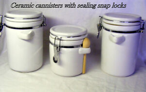 3 ceramic storage canisters, airtight, waterproof, like new
