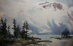 "Winter Mountain,George Alig ""November Chill"" Original Watercolor Stratford Kitchener Area image 4"