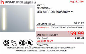 HOME IDOL LED MIRROR CLEARANCE $59