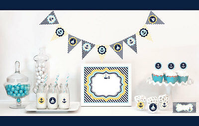 Nautical Themed Party Supplies (Nautical Ocean Theme Baby Shower Party Decorations Starter)