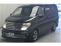 FRESH IMPORT 2004 NISSAN ELGRAND RIDER AUTECH V6 FOUR WHEEL DRIVE 4WD BLACK