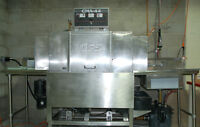 CMA44 conveyored dishwasher with sink, soiled & clean tables