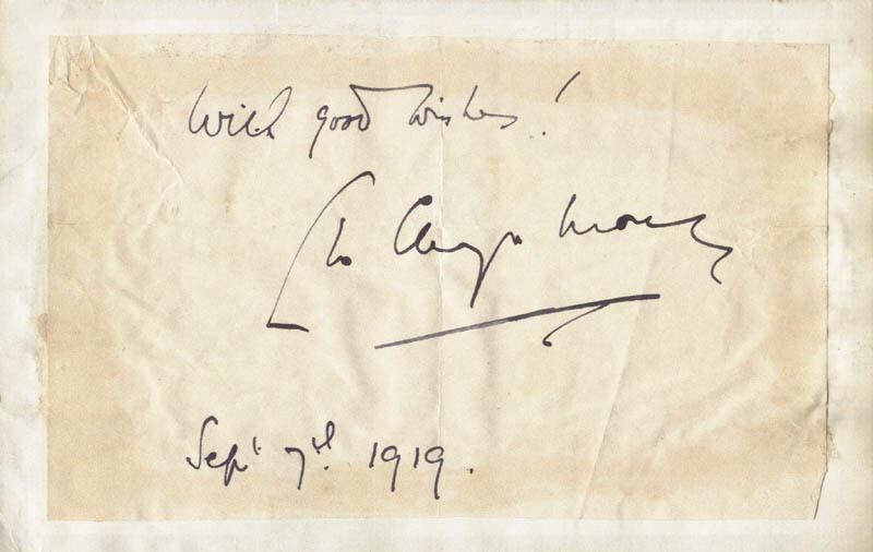 LEO CHIOZZA MONEY - AUTOGRAPH SENTIMENT SIGNED 09/07/1919