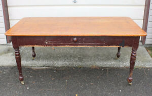 Antique 1850 PINE 2 BOARD TOP RED PAINT ON BASE HARVEST TABLE