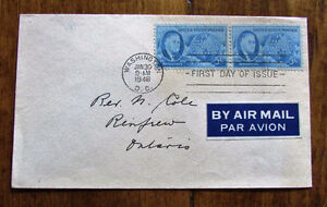 1946 Franklin D Roosevelt Memorial First Day Air Mail Cover Kitchener / Waterloo Kitchener Area image 1