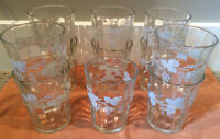 11 Vintage Grape & Vine Juice Glasses Tumblers Frosted Grapevine
