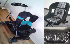 Double stroller, infant car seat and booster car seat