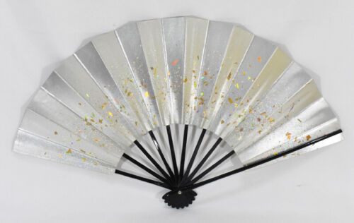 Kyoto Mai-ogi (a fan for Japanese traditional dance) Gold flakes on Silver #3636